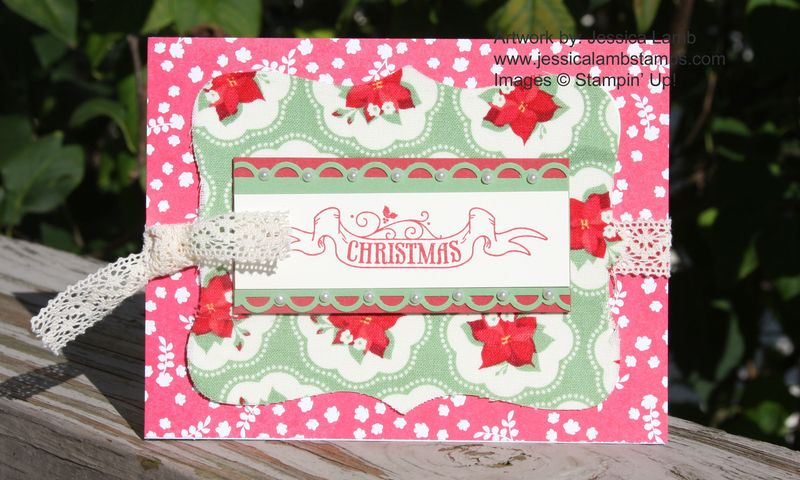 Christmas card using Holly Berry Fabric