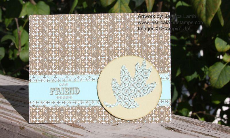 Friend card with spice cake fabric leaf