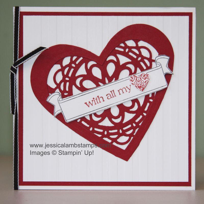 Valentine stripes textured impressions card